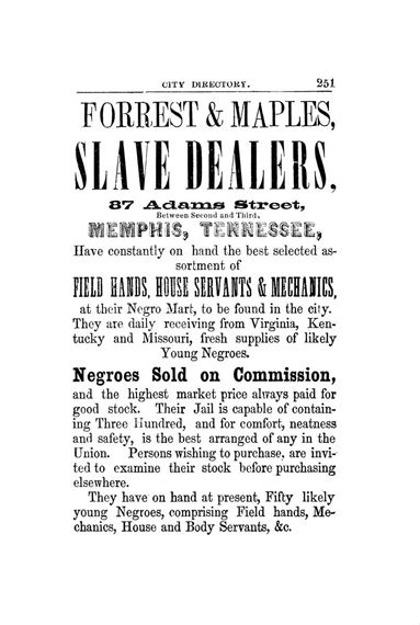 Image of slave-trade advertisement from Memphis City Directory.