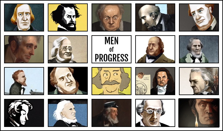 Logo with screenshots from videos in the Men of Progress series of videos and link