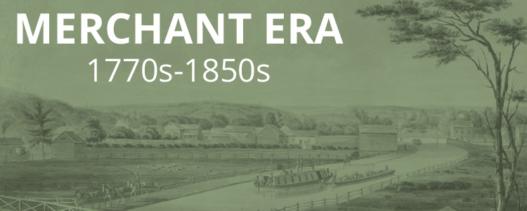 Picture of a canal with green overlay and text, Merchant Era