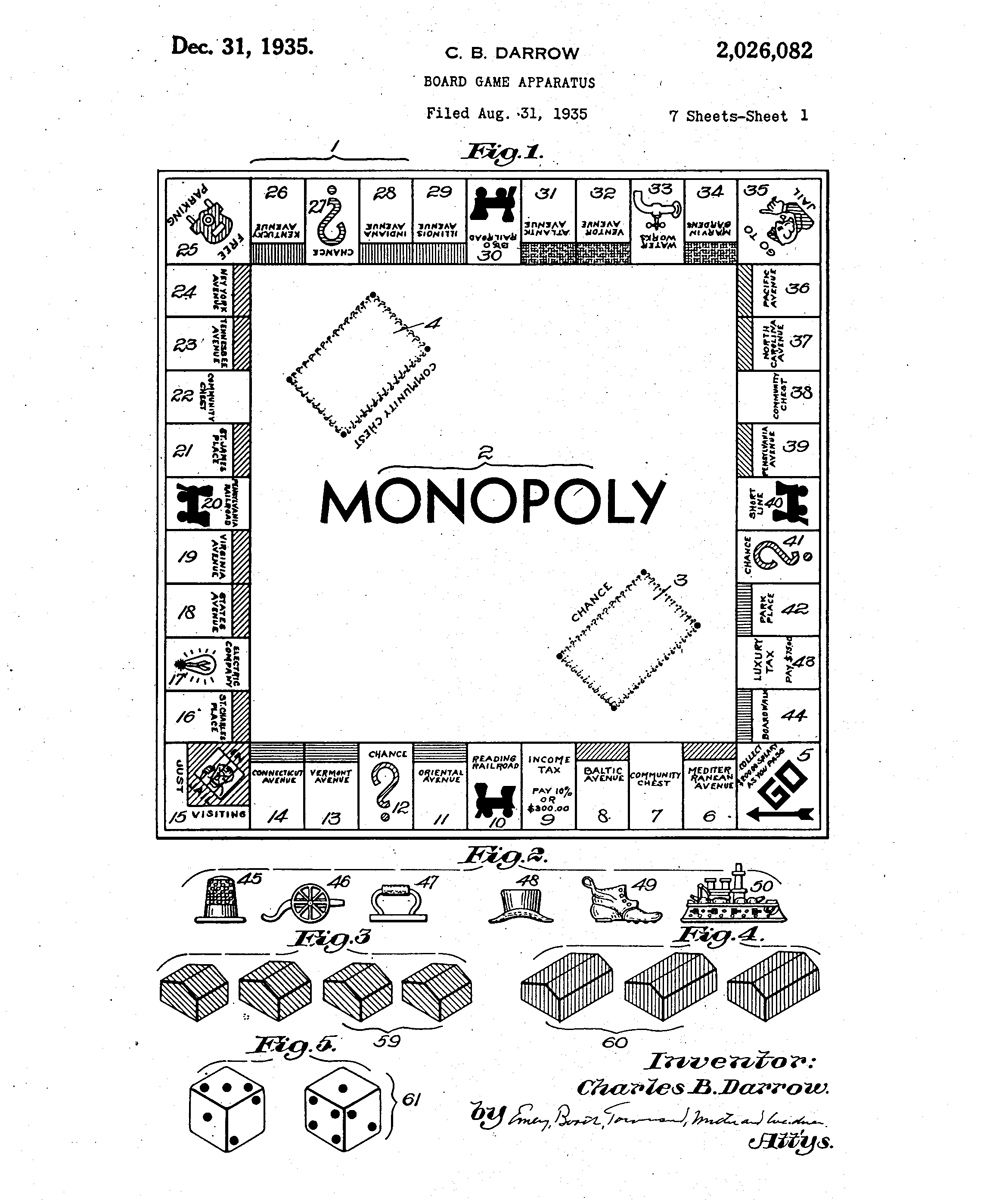 Patent drawing for Monopoly, 1935