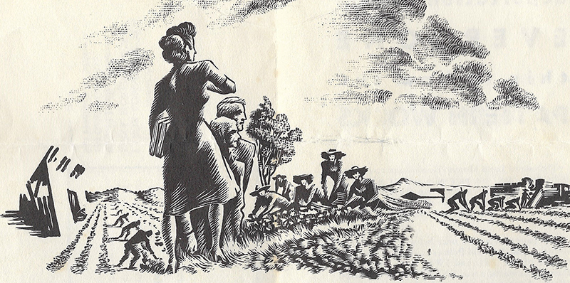 An illustration featuring Luisa Moreno in the fields.