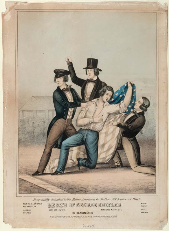 Print of a wounded man holding a flag, being supported by three other men