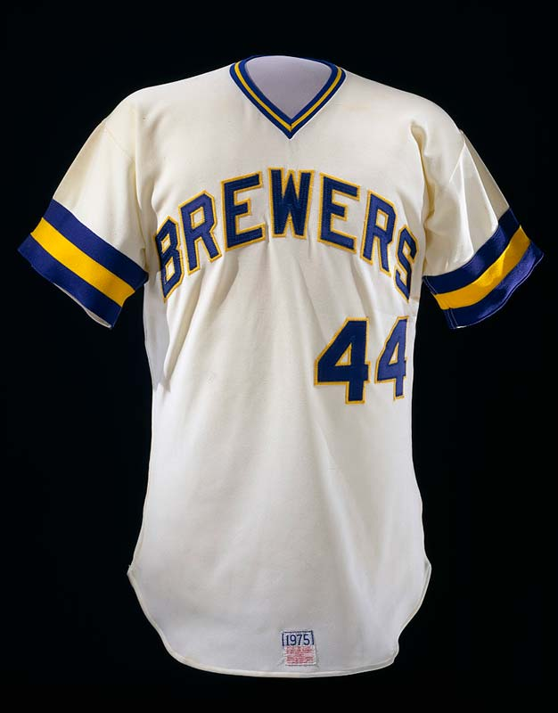 Baseball jersey with writing 'Brewers' and number 44