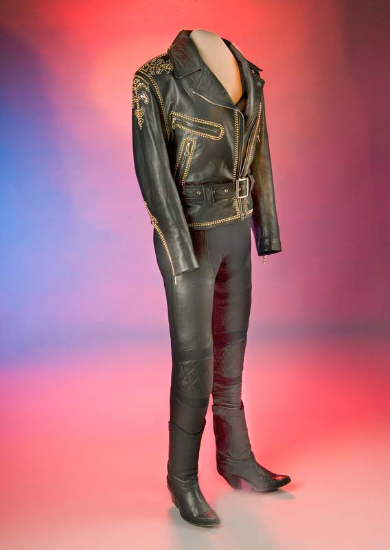 Black leather outfit - jacket, pants, and boots