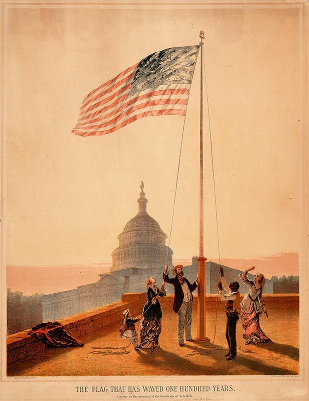 A group of people raises the American flag on a pole with the U.S. Capitol in the background