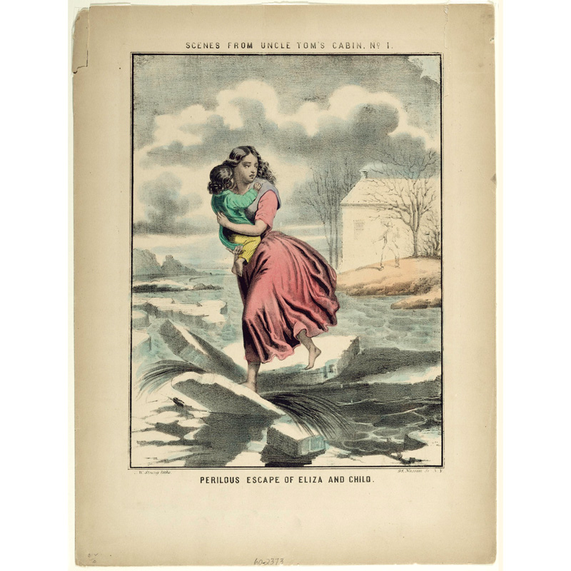 Lithograph depicting a scene  of Uncle Tom's Cabin, showing the character Elize carrying her child over the frozen Ohio River. The ice cracks beneath Eliza's feet as she runs across, while small figures watch her progress from the far shore in Kentucky