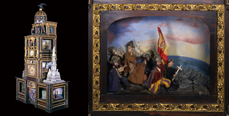 Great Historical Clock of American showing panel depicting Christopher Columbus