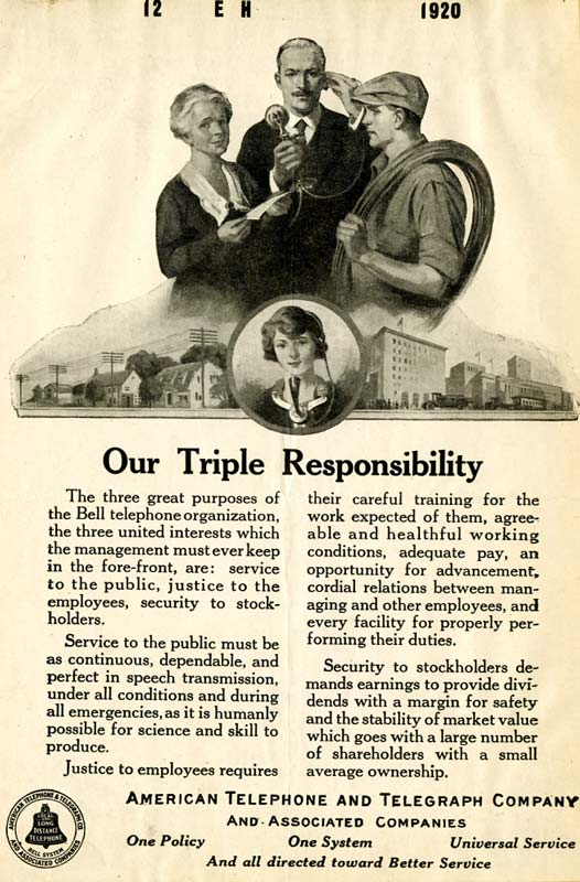 Advertisement titled 'Our Triple Responsibility'