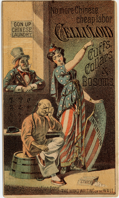 Figure of Lady Liberty or Columbia dismisses a Chinese laundry workers, who sits distraught. Uncle Sam looks on. The Chinese figure is depicted using negative Chinese stereotypes.