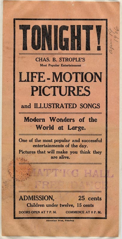 Ad for early motion picture