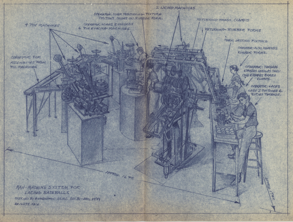 A blue print drawing of the baseball-lacing machine.