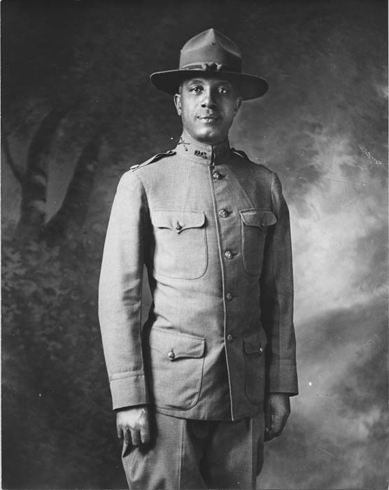 An African American World War I soldier in uniform.