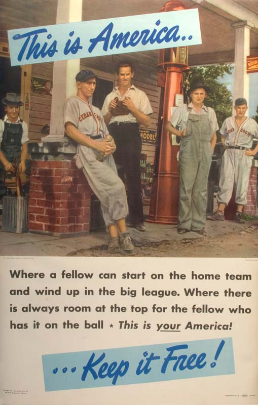 Poster with text 'This is America, Keep it Free!' showing young men with baseball uniforms