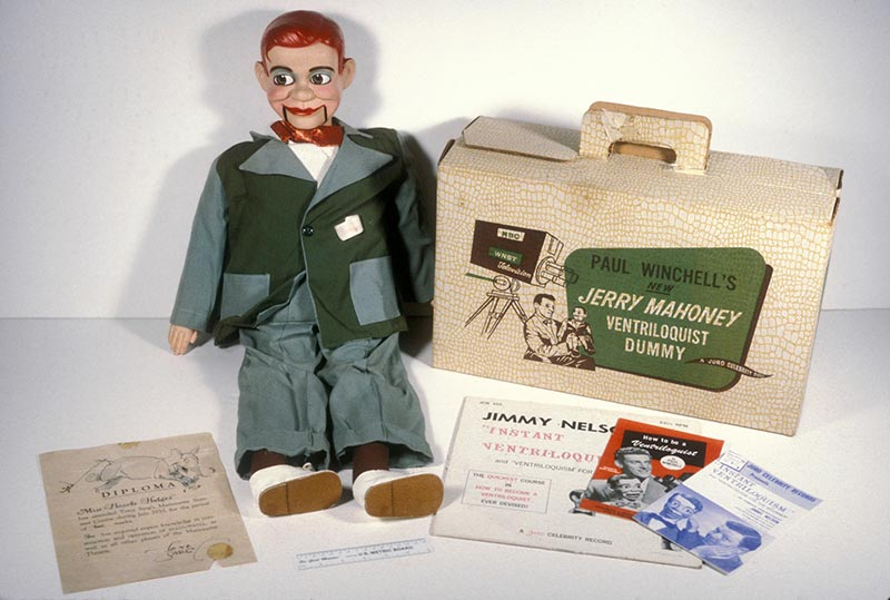 Ventriloquist dummy, box, and other related materials