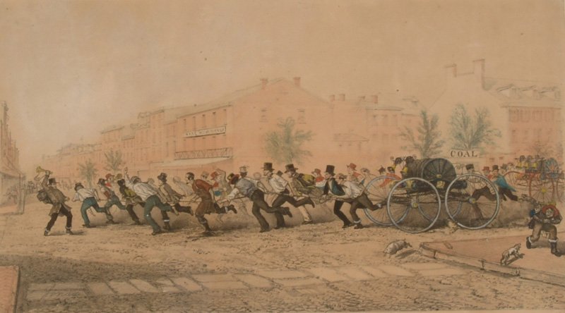 Illustration of two Philadelphia hose companies racing headlong to a fire, vying for the honor of being first on the scene.
