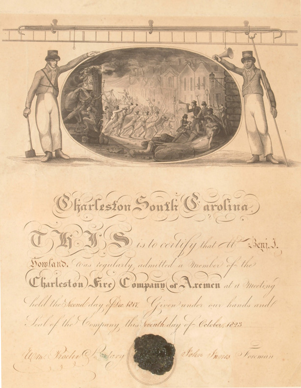 Membership certificate presented to Benjamin J. Holland, by the Charleston Fire Company of Axemen, decorated with illustration of firefighters rushing to a blaze.