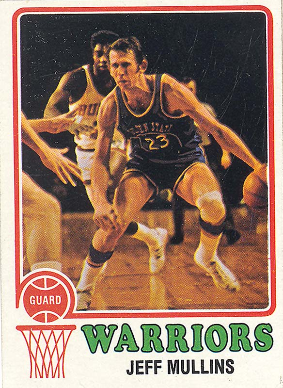 Collectible card with an action photo of basketball player Jeff Mullins