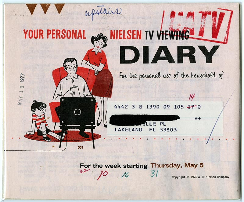 Booklet, Your Personal Neilson TV Watching Diary