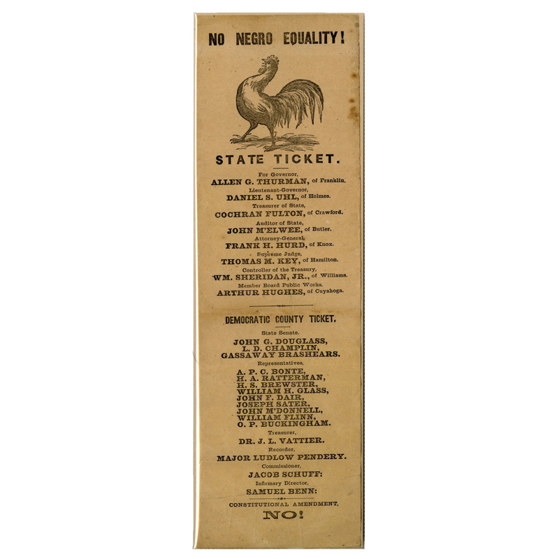 """No Negro Equality!"" Ohio ballot, 1867"