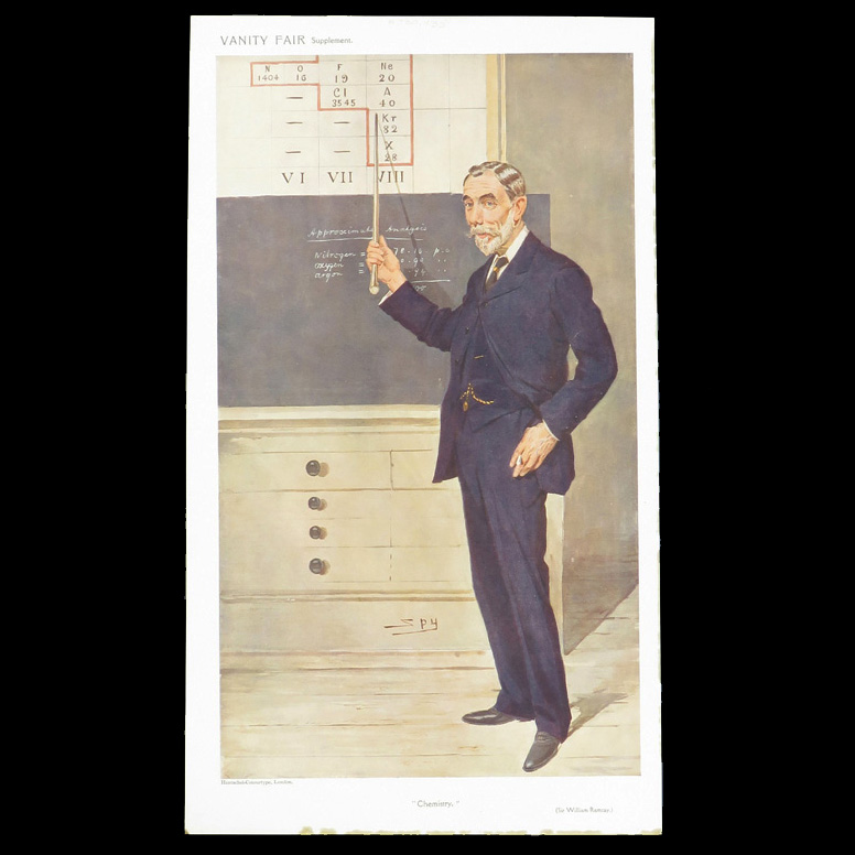 Illustration of William Ramsay standing in front of a chalkboard, pointing to the positions of his gases in a periodic table of elements