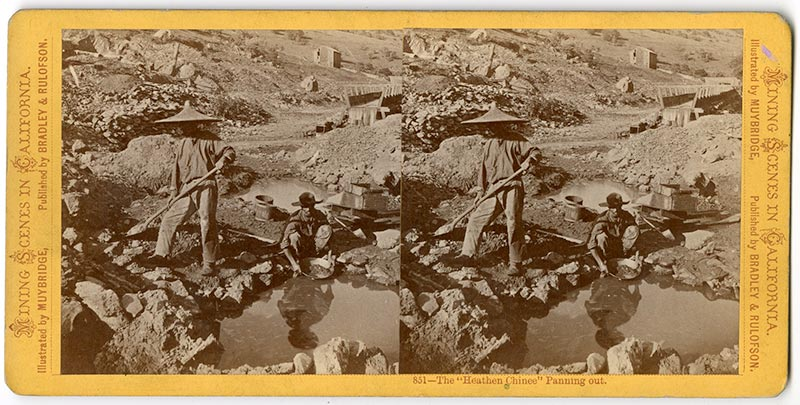 Stereo photograph of Chinese mine workers