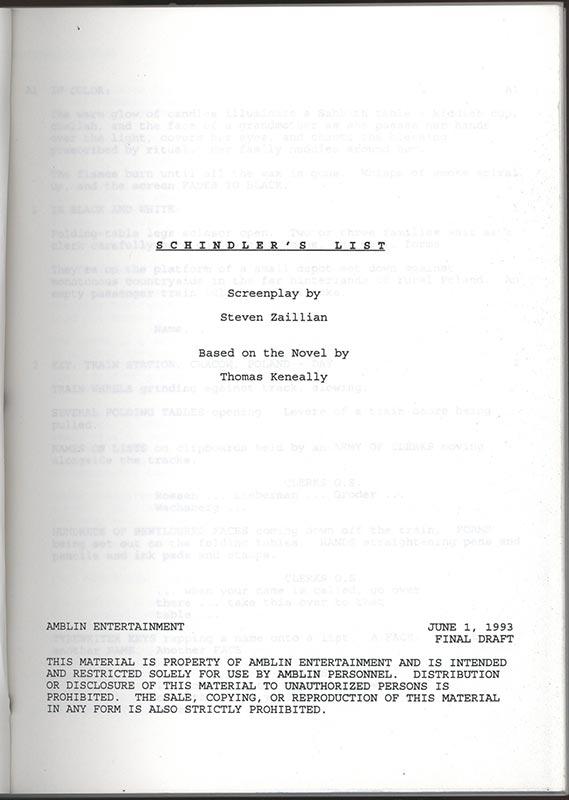 Script cover, Schindler's List