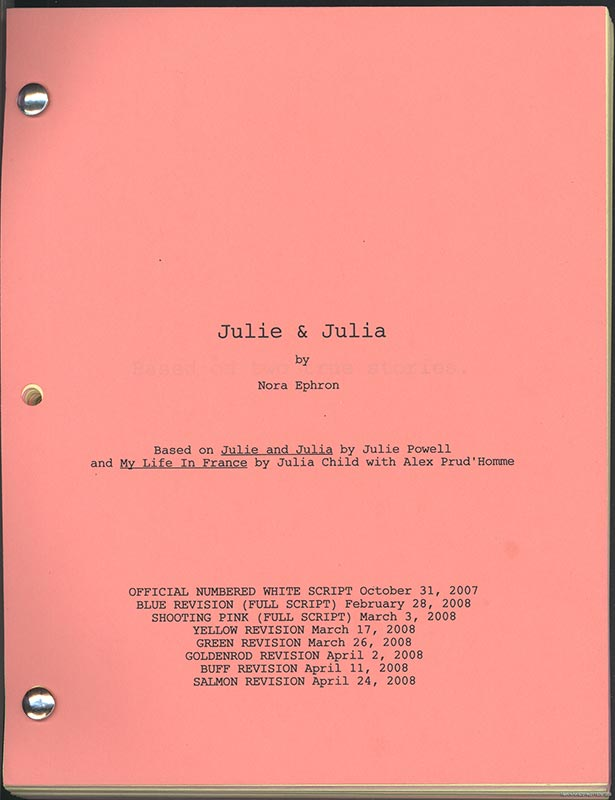 Printed movie script for Julie and Julia
