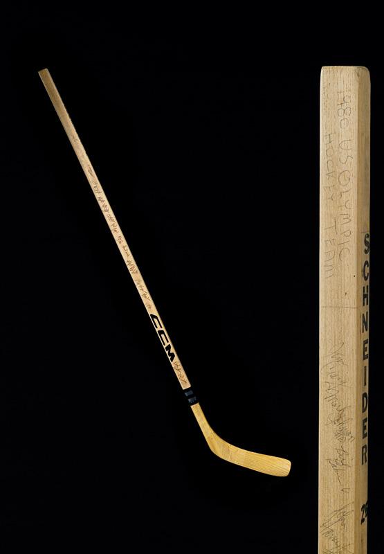 Signed wooden hockey stick