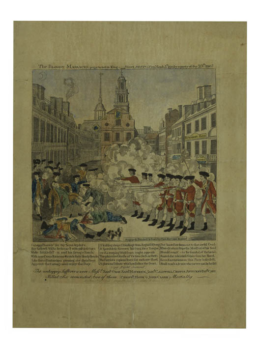 The museum's 1832 version of Revere's print, published by Bostonian William Stratton, puts Johnson entirely into the shade of the crowd, so you cannot tell his racial identity or see his wounds.