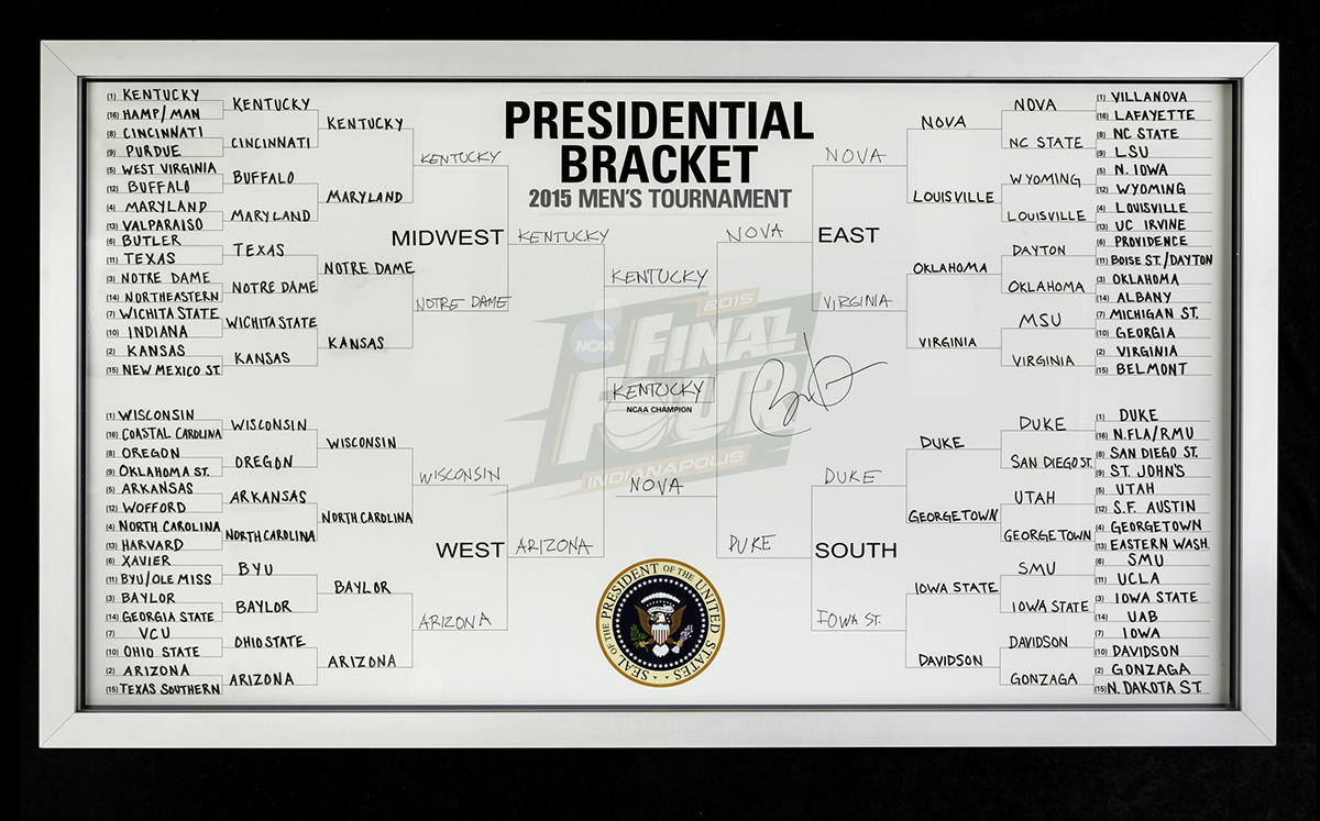 A March Madness bracket filled out by the Obamas.