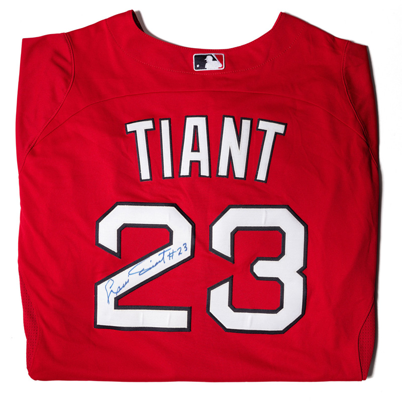 Luis Tiant Jr.'s signed baseball jersey