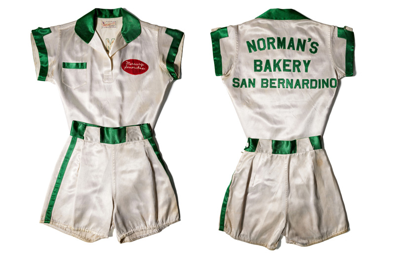 Colton Mercury Señoritas jersey and shorts with the large label on the back, Norman's Bakery, San Bernardino