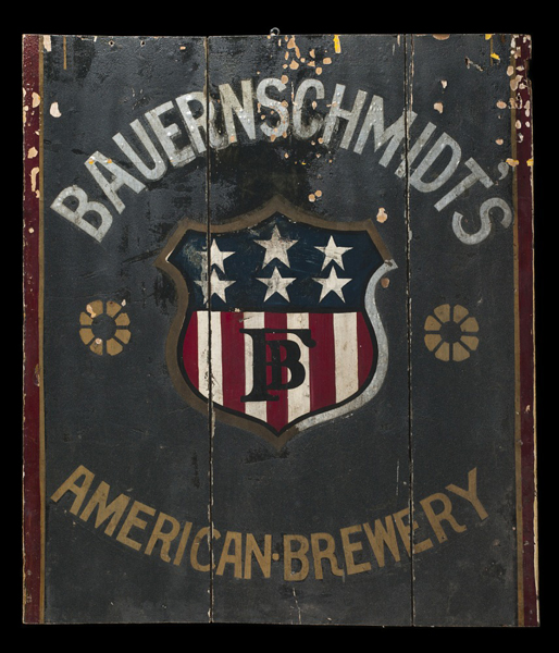 A sign for the Bauernschmidt brewery.
