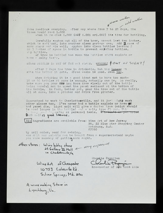 A typewritten recipe with handwritten notations.