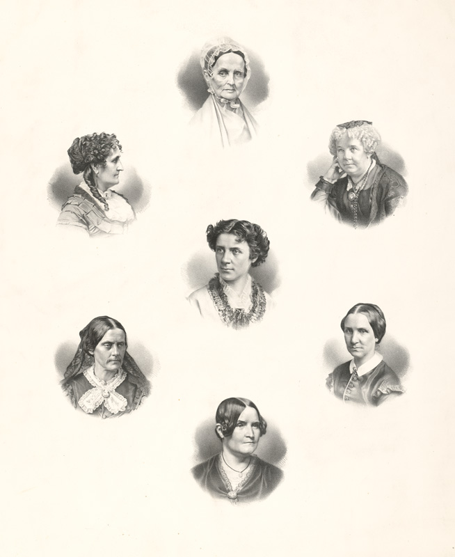 Lithograph showing illustrated portraits of seven women aboltionists, including Lucretia Coffin Mott,  Sara Jane Clarke Lippincott,  Elizabeth Cady Stanton, Anna Elizabeth Dickinson, Susan Brownell Anthony, Mary Ashton Rice Livermore, Lydia Child
