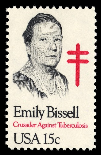 A portrait of a woman with a red TB cross behind her.