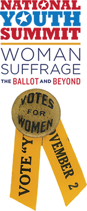 """Logo for 2019 National Youth Summit with yellow ribbon and button with text, """"Votes for Women"""""""
