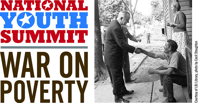 Logo image for the National Youth Summit: War on Povery, featuring Pres. Johnson shaking a man's hand