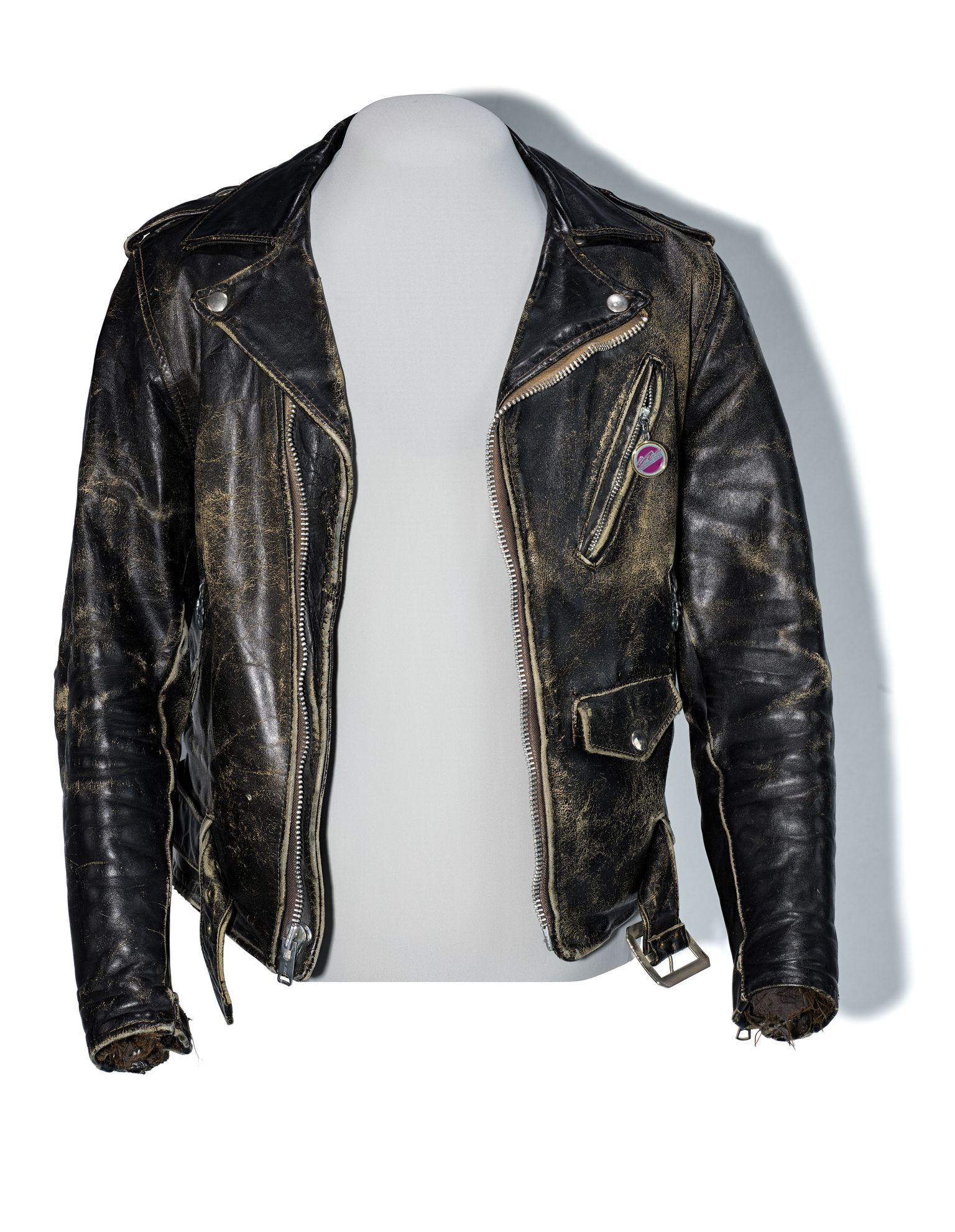 A weathered leather jacket