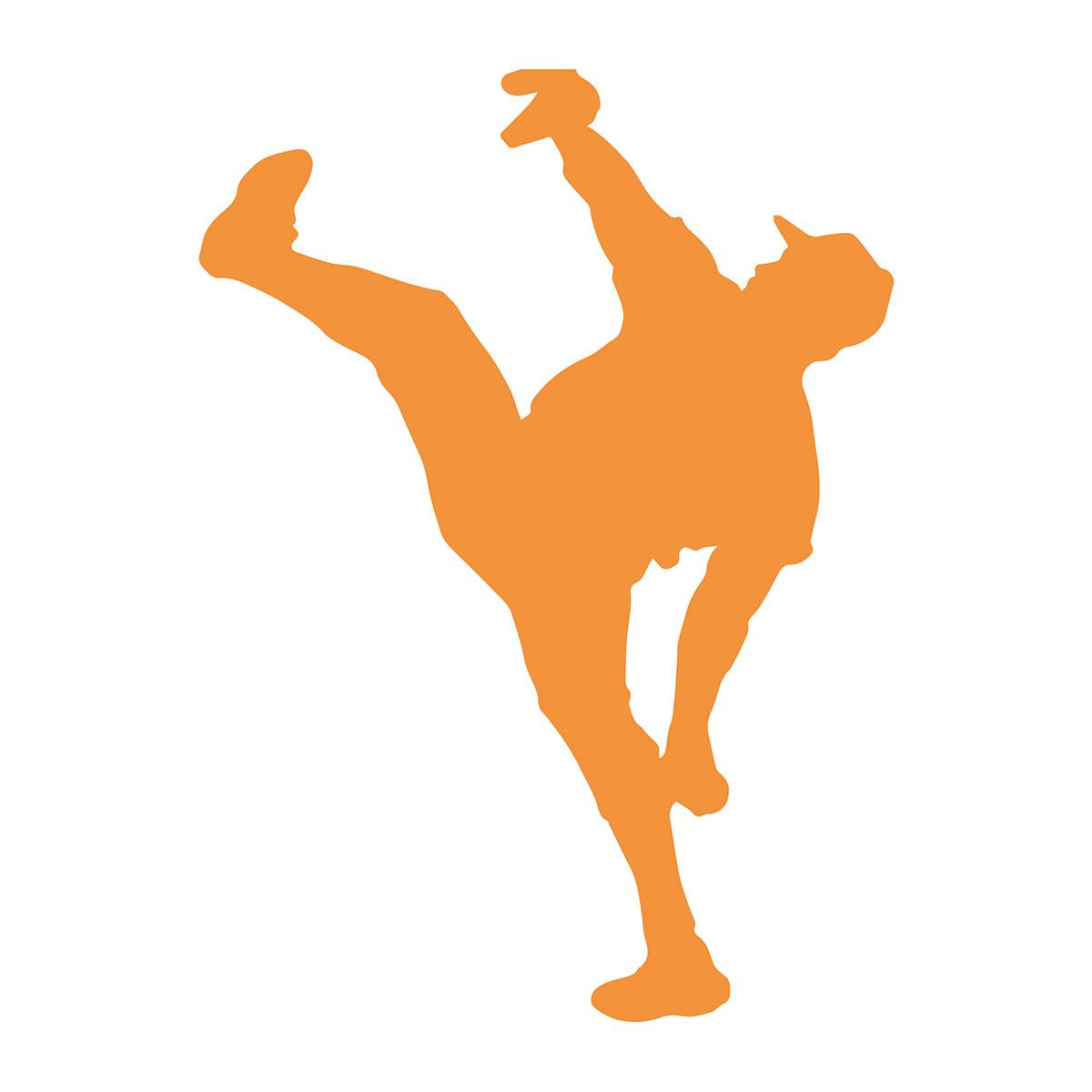 Silhouette of baseball player kicking leg