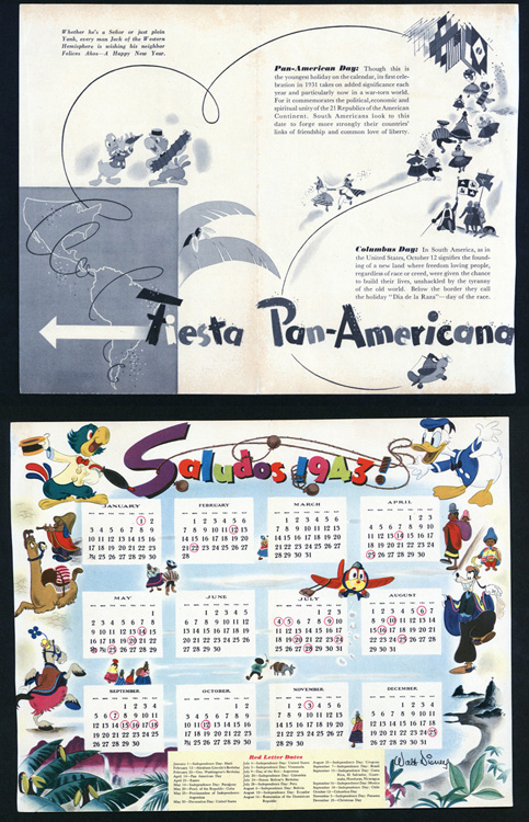 "A calendar and a flyer featuring Disney characters from the film ""Saludos Amigos"""