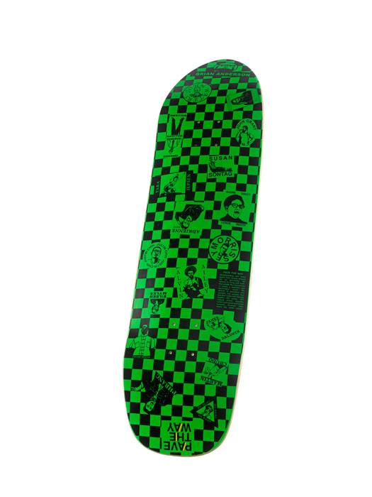 A green and black skateboard
