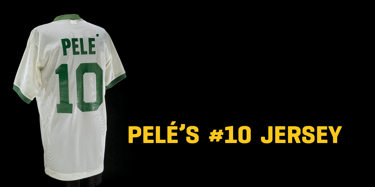 "A jersey with the text ""Pele's #10 Jersey"""