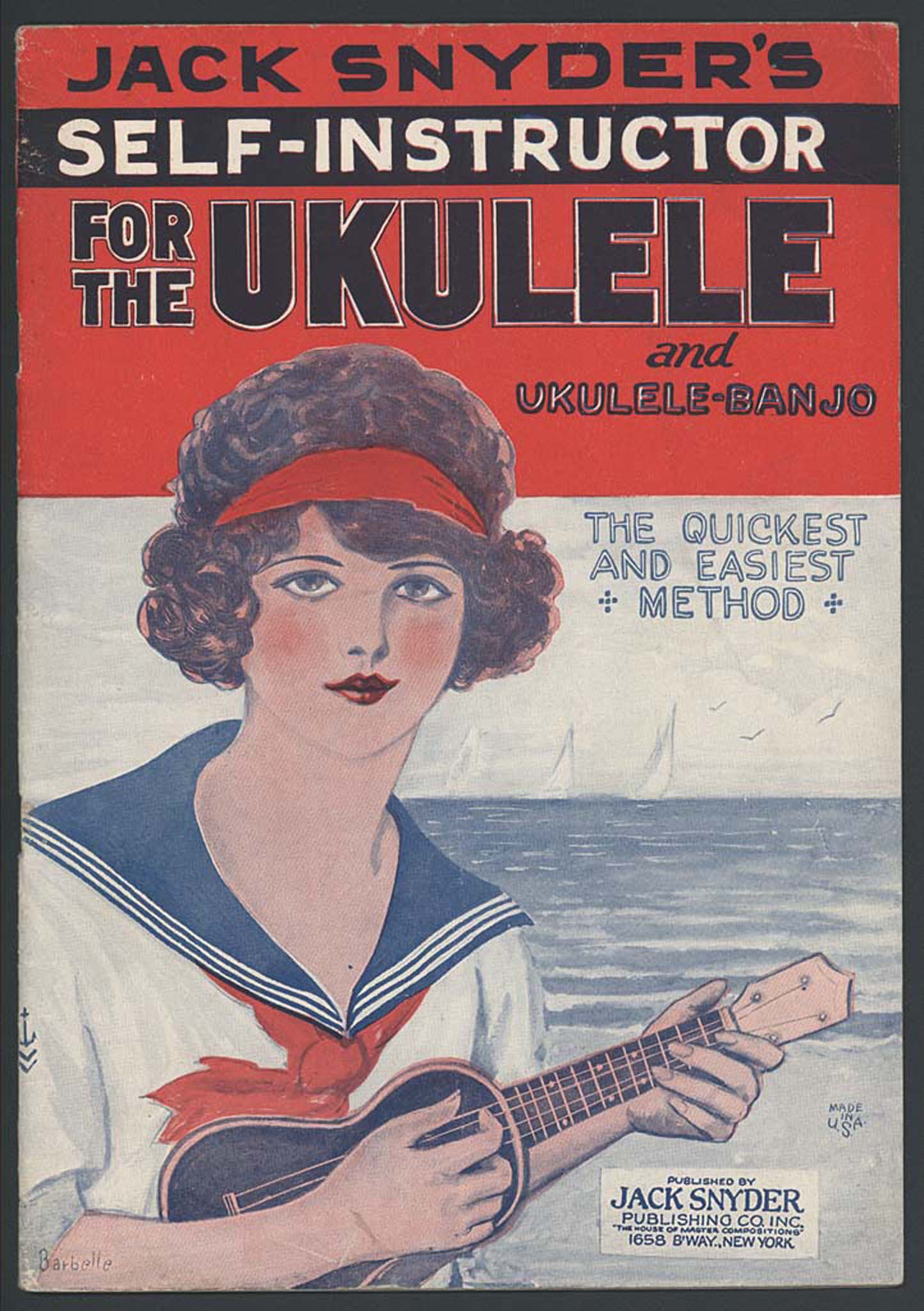 Cover of ukulele instruction book featuring a women with an instrument