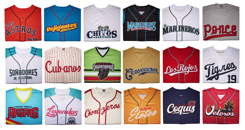 Eighteen uniforms arranaged into a grid, representing a variety of Minor League and independent teams from across the United States