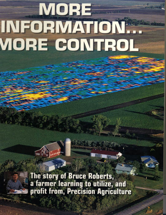 """More information ... more control"" reads this promotional brochure featuring an image of a farm with a heat map super-imposed"
