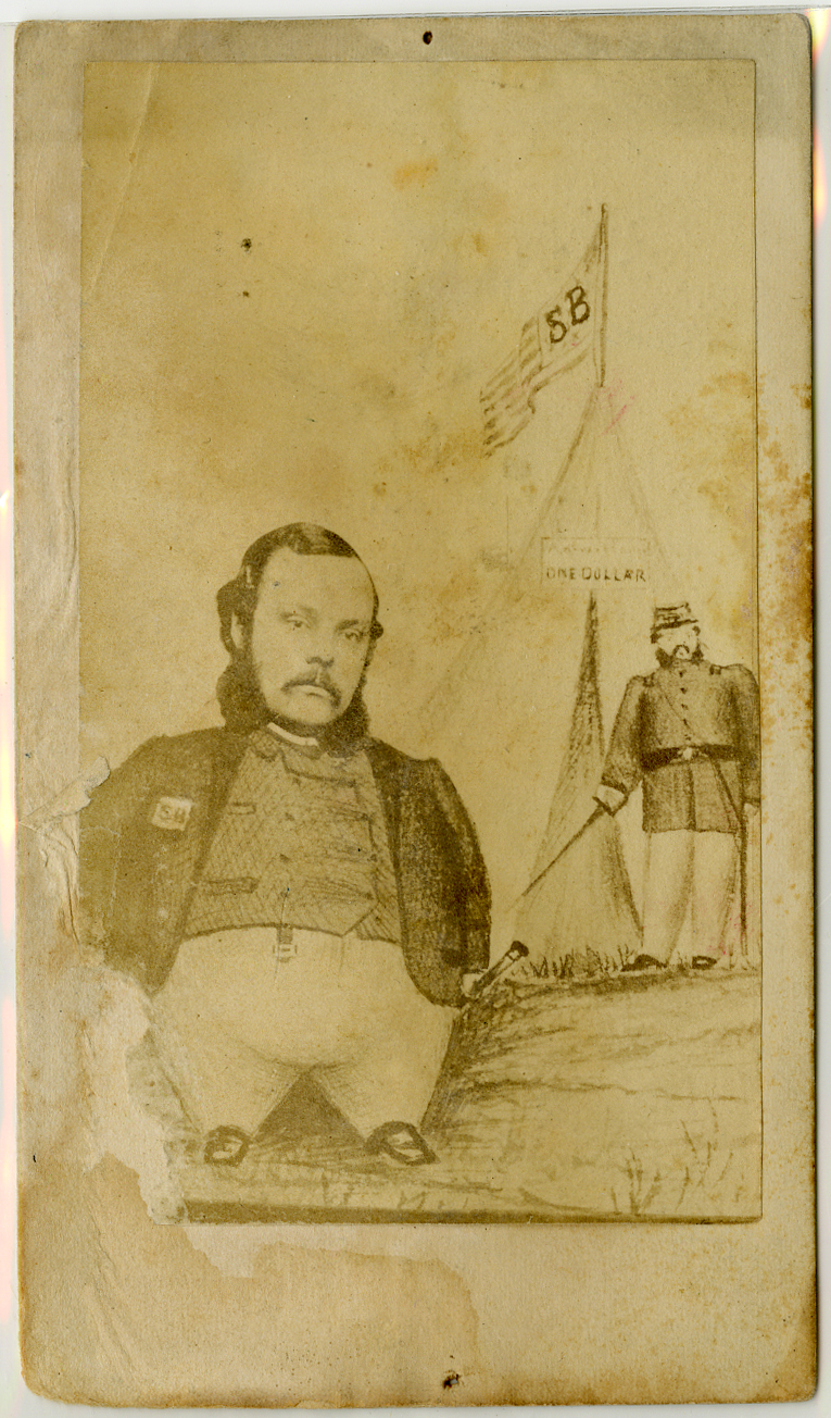 Portly man with sketched body and photo face stands in front of a tent and a soldier with a sword