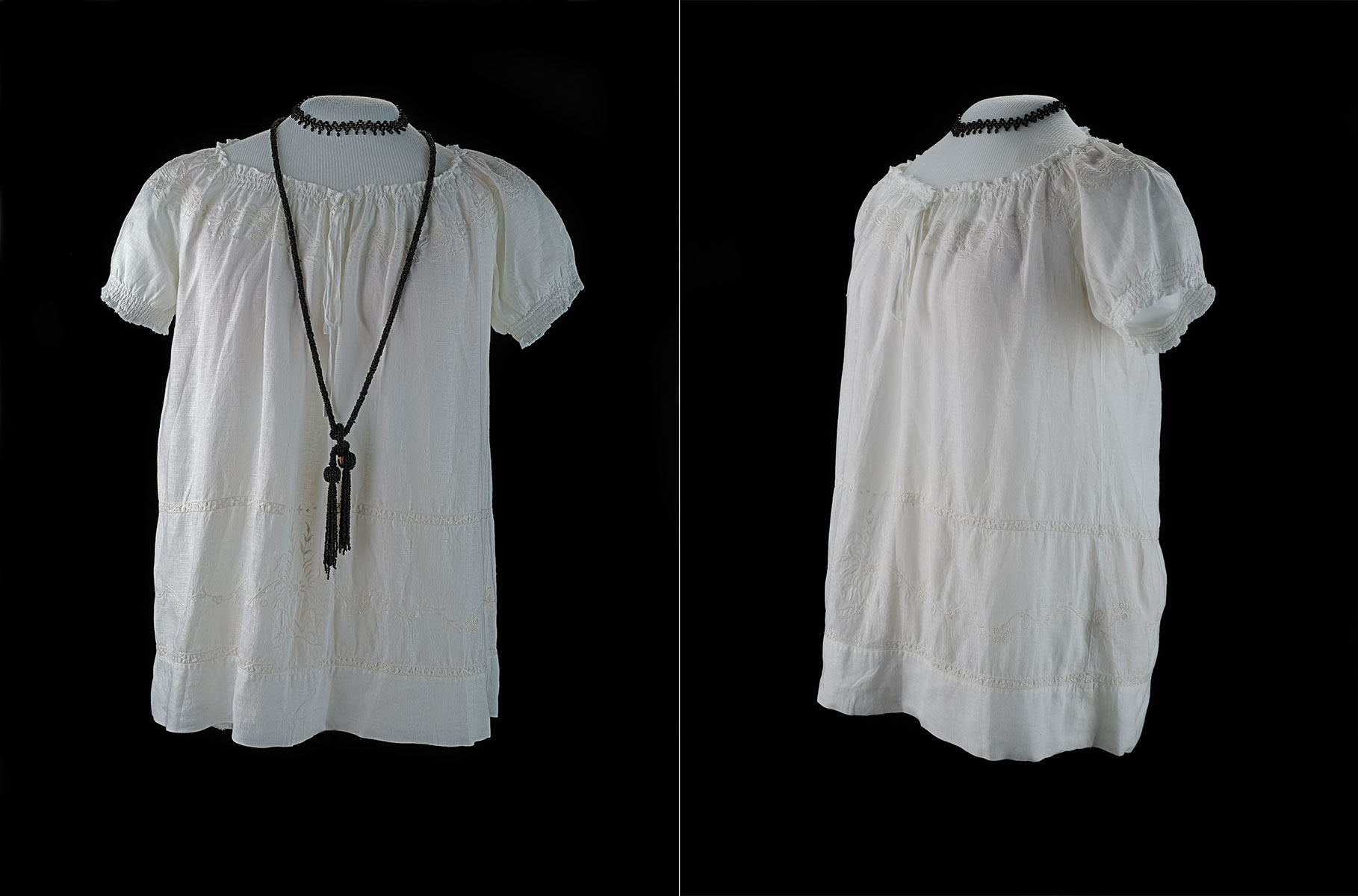Community organizer Milagros Batista's blouse and jewelry