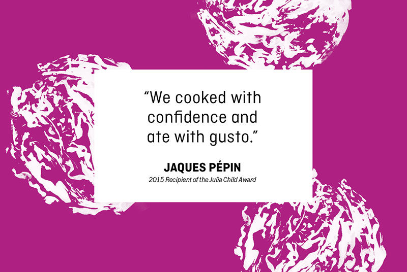 """Text box on patterned background that says """"We cooked with confidence and ate with gusto."""""""