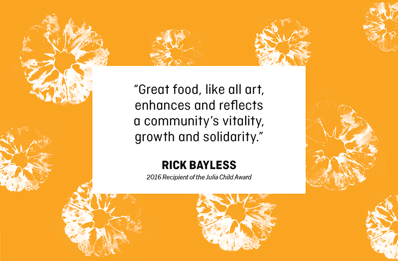 "Text box on patterned background that says ""Great food, like all art, enhances and reflects a community's vitality, growth and solidarity."""